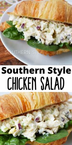 Liven up your lunch with this tasty Southern Chicken Salad Sandwich Recipe, tender chicken mixed with onion, celery, egg, and relish on top of a buttery baked croissant roll. Southern Chicken Salads, Homemade Chicken Salads, Rotisserie Chicken Salad, Chicken Salad Recipes, Easy Egg Salad Recipe With Relish, Chicken Salad Chick Chicken Salad Recipe, Southern Chicken Salad Recipe With Grapes, Chicken Salad On Croissant, Chicken Salad Recipe With Cream Cheese