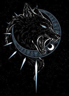 Fenrir Tattoo, Norse Tattoo, Viking Tattoos, Celtic Wolf Tattoo, Arte Viking, Viking Art, Wolf Tattoo Design, Wolf Design, Wolf Tattoos