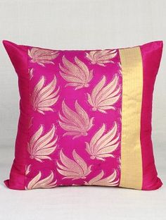 Fuschia Leaf Brocade Cushion Cover x Diy Cushion Covers, Beige Pillow Covers, Cushion Cover Pattern, Cushion Cover Designs, Pillow Cover Design, Glam Pillows, Designer Bed Sheets, Patchwork Cushion, Decorative Throw Pillows