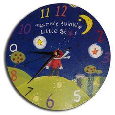 Twinkle Twinkle Little Star Clock, Nursery Decor, Boys Room Decor, Gift for Boys, Wall Clock - Modern Nursery Decor Boy, Boys Room Decor, Clock Shop, Wooden Keepsake Box, Twinkle Twinkle Little Star, Gifts For Boys, Diy And Crafts, Hand Painted, Clock Decor
