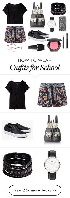 """""""school outfit"""" by the-tumblr-girl on Polyvore featuring Aéropostale, Accessorize, Vans, T-shirt & Jeans, Replay, Daniel Wellington, OPI, Burberry and H&M"""