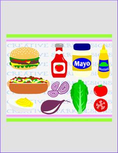 Cookout Food SVG Image Collection for Die Cutting Machines, Clip Art, Scrapbooks, Iron-on, Decor, Party, Cards, by CreativeSparkDesigns on Etsy