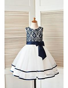 A-line Knee-length Flower Girl Dress - Lace / Tulle Sleeveless Scoop with Bow(s) / Lace / Sash / Ribbon – USD $ 175.00