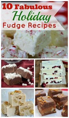 Ten festive and tasty holiday fudge recipes to make for Christmas.  And they're all based on traditional Christmas foods!  Peppermint Fudge, Snickerdoodle Fudge, Gingerbread Fudge, etc.