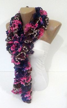 Hand Knit Ruffled Scarf multicolor scarf2013 NEW TREND by seno, $25.00