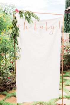 Modern rose gold baby shower sign: Photography, Styling & Floral Design : Leeves & Berries Read More on SMP: http://www.stylemepretty.com/living/2016/11/03/a-modern-floral-baby-shower/