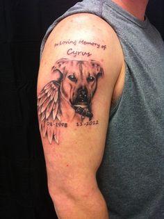 dog memorial tattoos men images galleries with a bite. Black Bedroom Furniture Sets. Home Design Ideas