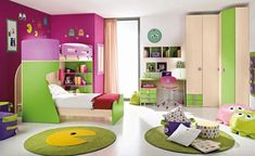 Good-looking Bedroom Interior With Comely Colorful Cushions Motives And Multicolor Decoration Also Cute Study Desk Design Purple Kids Bedrooms, Green Kids Rooms, Cool Kids Rooms, Kids Room Design, Kid Beds, Bunk Beds, Room Interior, Bedroom Decor, Bedroom Ideas