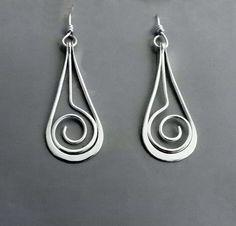 Sterling Dangle Earrings SPIRAL SWING by SunnySkiesStudio on Etsy, $45.00