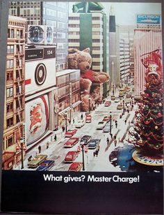 1969 vintage Christmas Ad Master Charge city street with teddy bear, TV, camera
