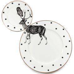 Süß und schrulligen Hirsch Teller set mit eindeutigen Abbildung auf der wunderschönen passenden Abendessen und Seitenplatten übernommen. In der
