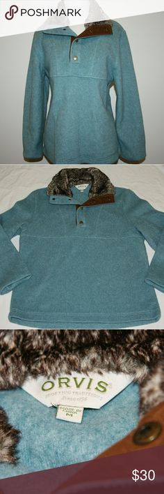 Orvis Thick Fleece Pullover Orvis Women's Thick Fleece Pullover Teal with brown ultra suede trim with snaps Fur collar Soft thick fleece Orvis quality Size medium  EUC. No rips, stains, holes, tears or marks. Orvis Sweaters