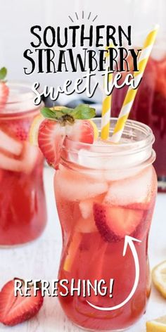 Strawberry Drink Recipes, Strawberry Tea, Fruit Drinks, Non Alcoholic Drinks, Cocktails, Strawberry Alcohol Drinks, Fruit Tea Recipes, Beverages, Tea Drinks