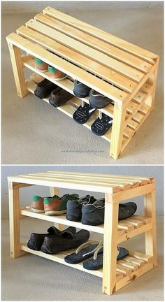 To fantastically design this wood pallet superb seat with shoe rack design, you . To fantastically design this wood pallet superb seat with shoe rack design, you should arrange a gr Wooden Pallet Projects, Diy Pallet Furniture, Wooden Pallets, Rustic Furniture, Modern Furniture, Recycled Pallets, Diy Projects With Pallets, Diy With Pallets, 1001 Pallets