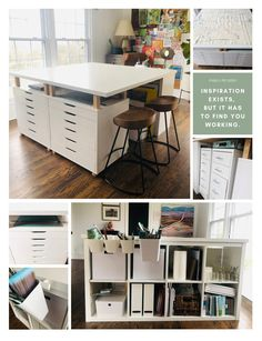 Craft Tables With Storage, Craft Room Tables, Ikea Craft Room, Craft Desk, Ikea Craft Storage, Craft Table Ikea, Ikea Work Table, Art Tables, Small Craft Rooms