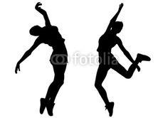 Vecteur : hip-hop woman dances silhouette vector