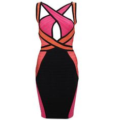Ginger Criss-Cross Colorblocked Dress H246R7 ❤ liked on Polyvore