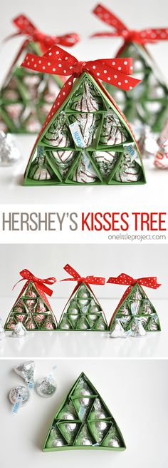 These Hershey's Kisses Christmas Trees are SO ADORABLE and they're really easy to make! They're a great alternative to a box of chocolates, and way cuter! gift How to Make Hershey's Kisses Christmas Trees Noel Christmas, Christmas Candy, Diy Christmas Gifts, Christmas Projects, Christmas Decorations, Christmas Ornaments, Ideas For Christmas Trees, Cheap Christmas, Office Christmas
