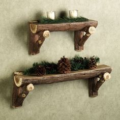 ≈ Rustic Timber Log Wall Shelf... I love this look! (home dec rustic + twig/branch crafts) .... just had some cedar trees trimmed, i think the branches would be great for this ... wish they could have waited till closer to Christmas since i think the greenery may be wasted...boys fishing/hunting lodge