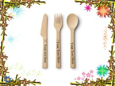 Customised STAMPED bamboo woden fork knife spoon birtday name engraved Tooth Gem, Knife And Fork, Forks And Spoons, Special Birthday, Party Gifts, Laser Engraving, Gifts For Mom, Personalized Gifts, Bamboo