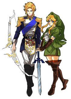 ) Link and Zelda Deco Gamer, Legend Of Zelda Characters, Princesa Zelda, Botw Zelda, Link Art, Legend Of Zelda Breath, Twilight Princess, Breath Of The Wild, Video Game Art