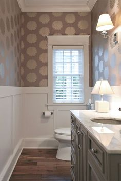 A short, stout accent lamp like the House of Troy Scatchard is an intriguing powder room lighting idea. Photo credit: Traditional Powder Room by Grandville Interior Designers & Decorators Dwellings Laundry In Bathroom, Bathroom Renos, Small Bathroom, Bathroom Ideas, Downstairs Bathroom, Bathroom Faucets, Bathroom Remodeling, Remodeling Ideas, Concrete Bathroom