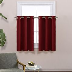 """Blackout Valances Curtains for Small Window - Pair of Thermal Insulated Eyelet Top Plain Blackout Tier Curtains by NICETOWN (29 Width x 36"""" Length, Burgundy) #smallbedrooms"""