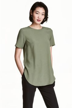 Top a maniche corte - Verde kaki - DONNA | H&M IT 1