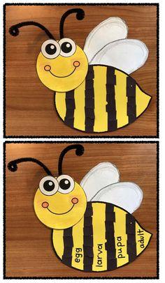 bee activities, bee games, bee crafts, math games, math centers, life cycle of a bee activities, bee themed word work, bee vocabulary, words that rhyme with bee, life cycle crafts, 50 interesting bee facts