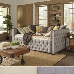 Perfect for a spare living room/ guest room! Knightsbridge Queen-size Tufted Nailhead Chesterfield Daybed and Trundle by iNSPIRE Q Artisan Daybed Mattress, Daybed With Trundle, Queen Daybed, Queen Size Trundle Bed, Bunk Bed, Queen Size Bedding, Cama Queen Size, Queen Size Day Bed, King Size