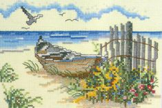 Weekenders Counted Cross Stitch Kit The Dory Boat Nautical Ocean Beach JCA 03559 #JCA #Frame
