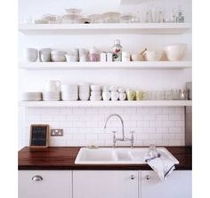 Waterlox Rocks on Wood Countertops w/bright white backsplash
