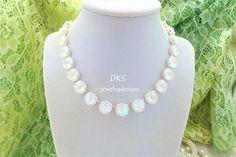 Bridal Necklace, Swarovski, Ultra White AB, 12MM, Adjustable, Aroura Borealis, Wedding, DKSJewelrydesigns, FREE SHIPPING