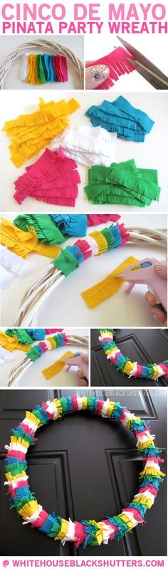 make a Pinata wreath out of felt for Cinco de Mayo! // white house black shutters (shudder, takes me back to those long hours sewing my pinata costume) Pinata Party, Diy Party, Party Ideas, Mexican Christmas, Mexican Crafts, Mexican Party, In Kindergarten, Holiday Crafts, Party Time