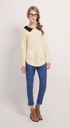 甜美印象造型領雙口袋針織衫