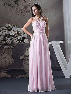 Beaded V Shape Strapped Long Chiffon Prom Dress - USD $129.00