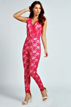 Darya Lace Wrap Front Belted Jumpsuit at boohoo.com