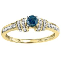 Elora 14k Gold 2/5ct TDW Round-cut Blue and White Diamond Engagement Ring (H-I, I1-I2) (Size 5 - Yellow Gold), Women's