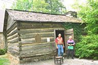 Smokykin.com ...  Genealogy.    Photo: Ogle Cabin, First Settler Structure in Gatlinburg, Tennessee