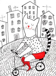 Riding bike on the streets / Original Art / paintings cats / City view / Bicycles. $30.00, via Etsy.