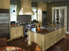 Add Comfort With Warm Beige Kitchen Cabinet