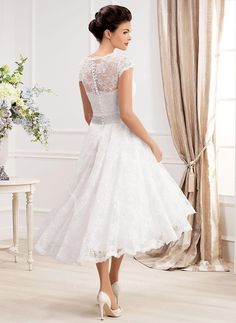 A-Line/Princess V-neck Asymmetrical Sash Beading Flower(s) Lace Covered Button Sleeves Short Sleeves Hall Garden / Outdoor Reception No Spring Summer Fall Ivory White Wedding Dress