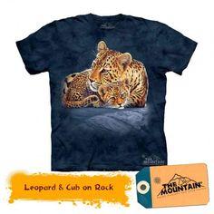 Tricouri The Mountain – Tricou Leopard & Cub on Rock Leopard Cub, Cubs, Mens Tops, T Shirt, Fashion, Bear Cubs, Puppys, Tee, Moda