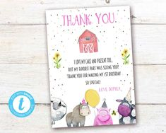 Editable Farm Animals Thank You Card, Farm Animals instant download invitation,You print birthday invitation, Party Animals DIY party Farm Animal Birthday, Farm Birthday, Party Animals, Animal Party, Diy Party, Party Printables, Birthday Celebration, Birthday Invitations, Thank You Cards