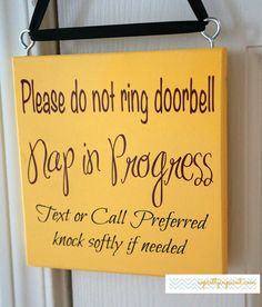 Please do not ring doorbell. Nap in Progress. Text or Call Preferred knock softly if needed