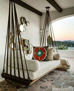 Roped chair swing on the balcony