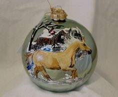 HAND-PAINTED ORNAMENT  Palomino Horse Item by reneesprettypainted