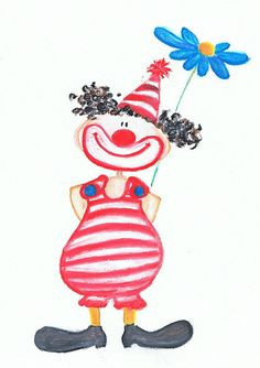 little clown ... waiting for some inspiration regarding the background... it will be a card for our friends baby-boy. I might cut out the clown and glue it to a colourful background...