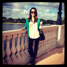 Black boots, leggings, beige sheer top and mint J. Crew cardigan...perfect for fall :)