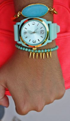 mint turquoise on neon. I've always loved to see turquoise with gold.